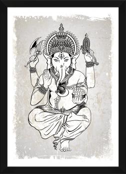Quadro Espiritualidade Ganesha Deus indiano Fundo Cinza