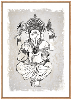 Quadro Decorativo Espiritualidade Ganesha Deus indiano Fundo Cinza