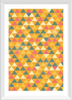 Quadro Decorativo Geométrico Triângulos Amarelos