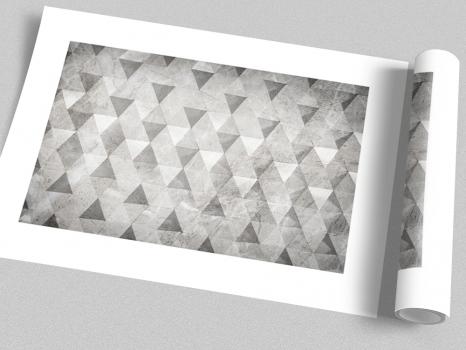 Quadro Abstrato Geométrico Triângulos Cinza