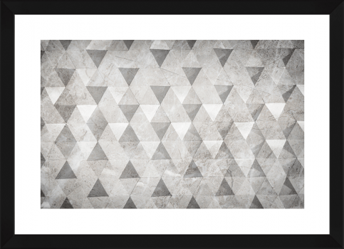 Quadro Decorativo Abstrato Geométrico Triângulos Cinza