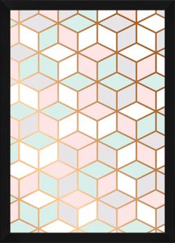 Quadro Decorativo Escandinavo Geométrico Cubo Rosa