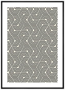 Quadro Decorativo Abstrato Geométrico Hexagonal étnico