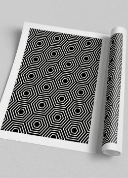 Quadro Abstrato Geométrico Hexagonal étnico 2