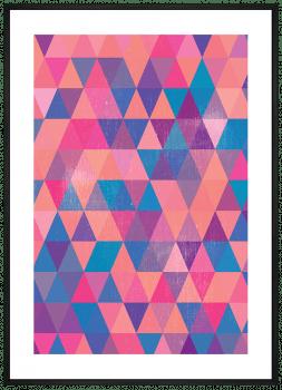Quadro Decorativo Geométrico Triângulos Rosas