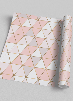 Quadro Escandinavo Geométrico Triângulo Rosa