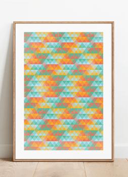 Quadro Decorativo Geométrico Triângulos Coloridos