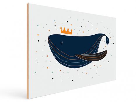 Quadro Decorativo Infantil Baleia - Oceano Azul Marinho