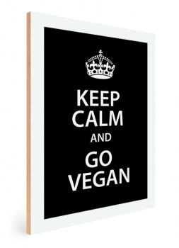 Quadro Decorativo Keep Calm Vegan Cozinha Fundo Preto