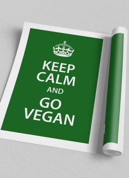 Quadro Keep Calm Vegan Cozinha Fundo Verde
