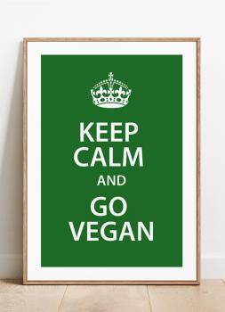 Quadro Decorativo Keep Calm Vegan Cozinha Fundo Verde