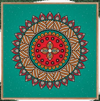 Quadro Mandala Fundo Verde