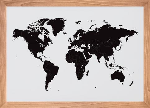 Quadro Decorativo Mapa Mundi Preto