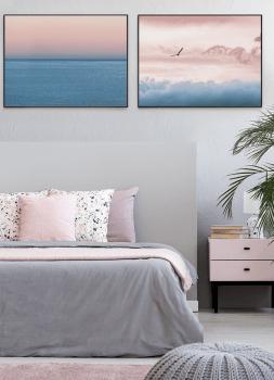 Quadro Decorativo Paisagem Mar Céu Rosa Fotografia