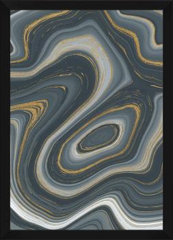 Quadro Decorativo Abstrato Mármore Cinza e Dourado
