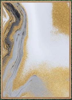 Quadro Decorativo Abstrato Mármore Cinza e Dourado 2