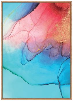 Quadro Decorativo Abstrato Mármore Rosa e Azul