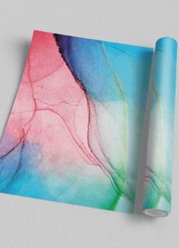 Quadro Decorativo Abstrato Mármore Rosa e Azul 2