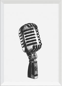 Quadro Decorativo Microfone Instrumento Musical Preto e Branco
