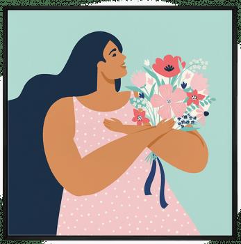 Quadro Decorativo Mulher com buquê - Feminismo