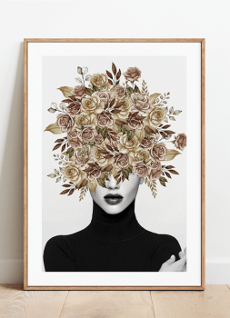 Quadro Mulher Flores Na Cabeça 2