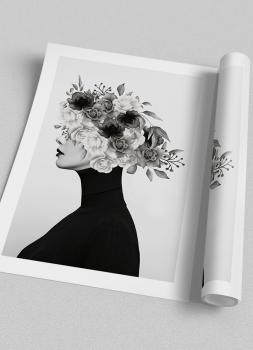 Quadro Mulher Flores Na Cabeça Perfil Preto e Branco