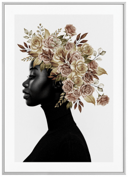 Quadro Decorativo Mulher Negra Flores na Cabeça Nude