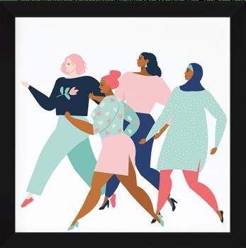 Quadro Decorativo Mulheres caminhando - Feminismo