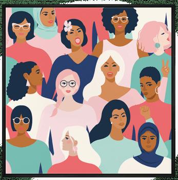 Quadro Decorativo Mulheres Rostos - Feminismo