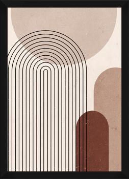 Quadro Decorativo Abstrato Geométrico Linhas Nude