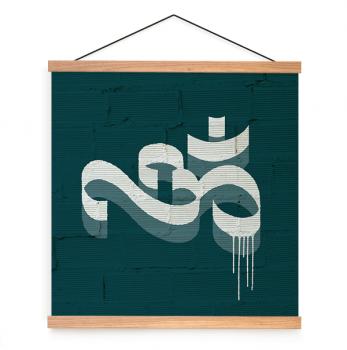 Quadro Decorativo Mantra Om fundo verde Yoga