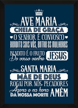 Quadro Decorativo Oração Ave Maria Azul e Branco