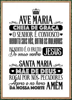 Quadro Decorativo Oração Ave Maria Branco e Preto