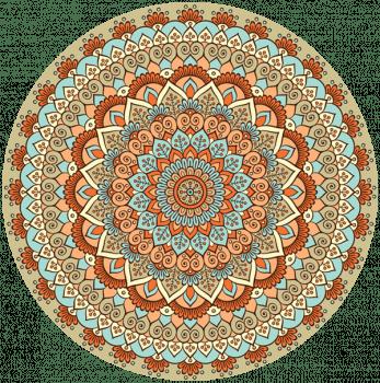 Quadro Mandala Laranja e Verde Étnica Placa Decorativa