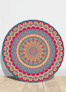 Quadro Mandala Rosa Étnica Placa Decorativa