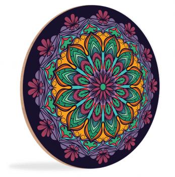 Quadro Mandala Roxa e Amarela Étnica Placa Decorativa