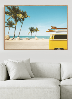 Quadro Decorativo Paisagem Praia Kombi Amarela