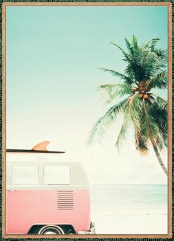 Quadro Decorativo Paisagem Praia Kombi Rosa