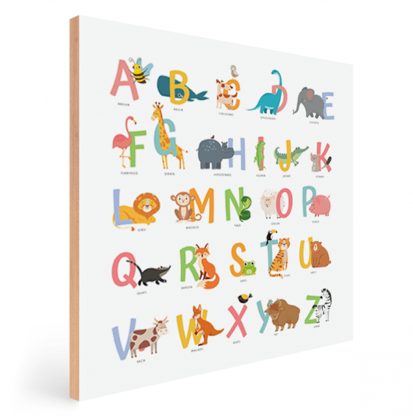 Quadro Decorativo Infantil ABC Bichos Coloridos