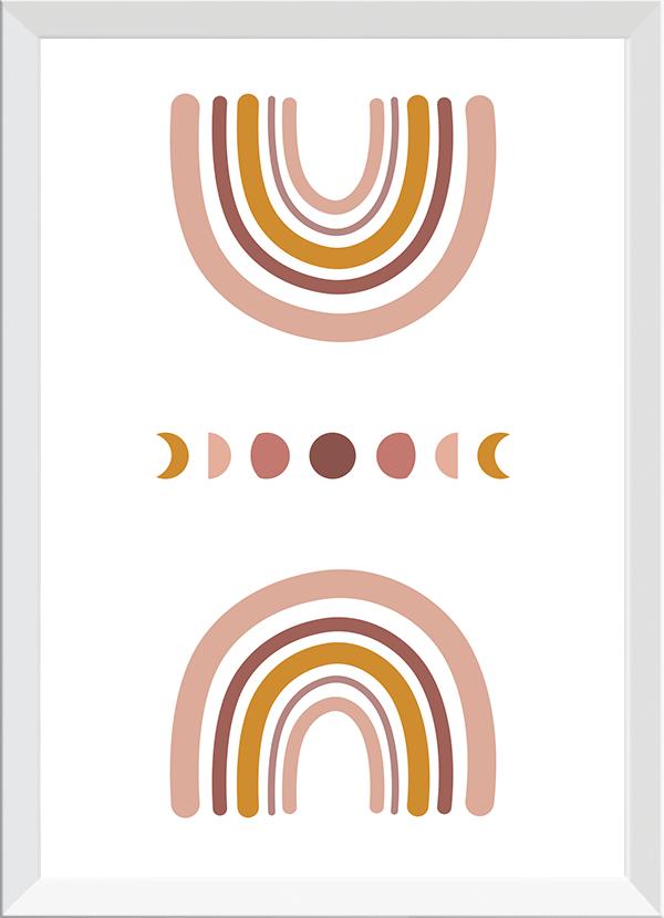 Quadro Decorativo Infantil Arco-Iris Fases da Lua Rosa