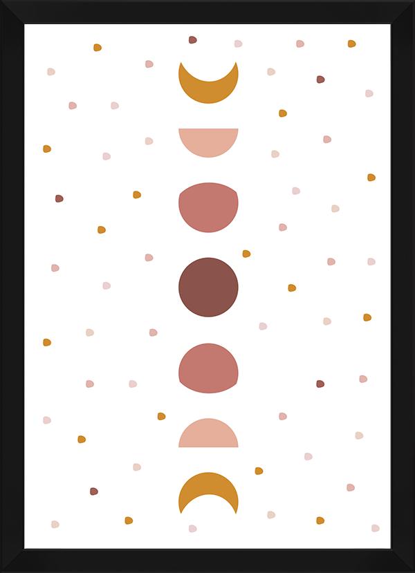 Quadro Decorativo Infantil Fases da Lua Rosa
