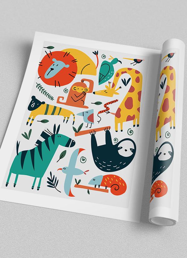 Quadro Decorativo Infantil Festa dos Bichos - Animais Coloridos 1