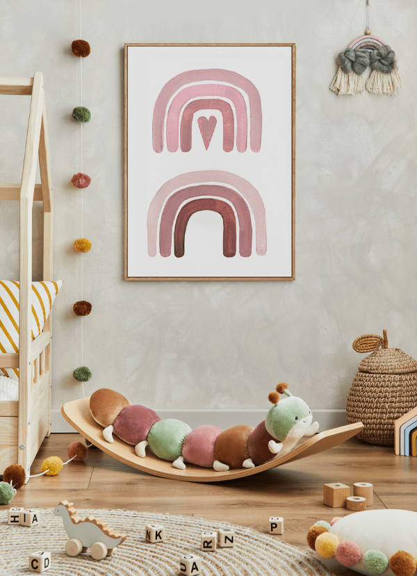 Quadro Decorativo Infatil Arco-Iris Rosa