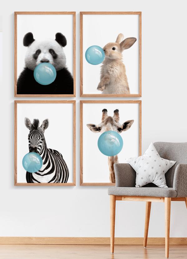 Quadro Decorativo Infantil Coelho Chiclete Bubble Azul