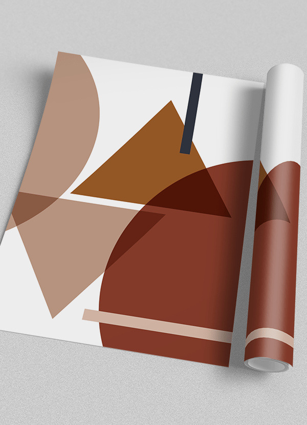 Quadro Decorativo Abstrato Geométrico Azul Marrom Bege