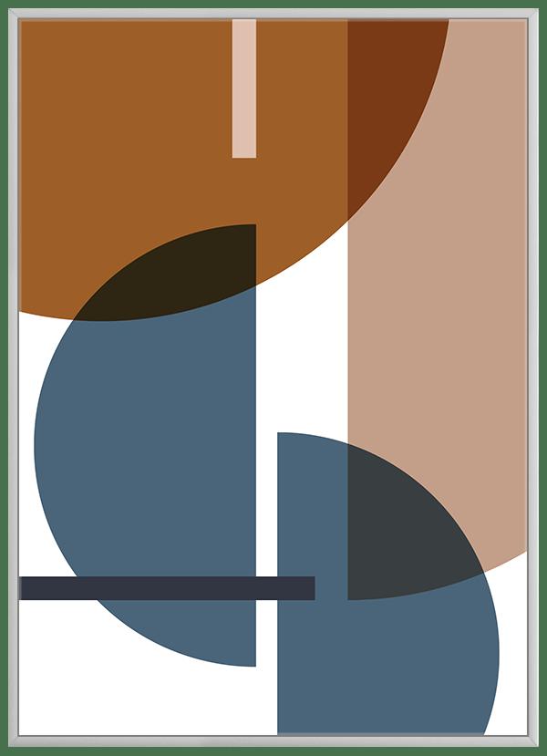 Quadro Decorativo Abstrato Geométrico Azul Marrom Bege 2