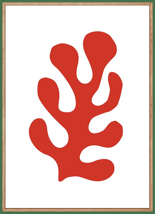 Quadro Decorativo Abstrato Folha Vermelha - Inspiração Matisse