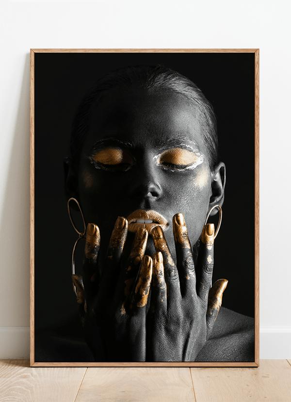 Quadro Decorativo Mulher Dourada