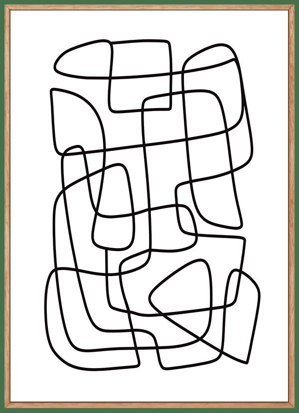 Quadro Decorativo Abstrato Linhas Emaranhadas