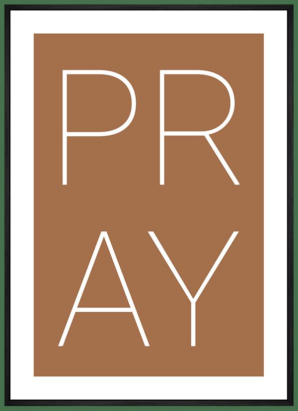 Quadro Decorativo Pray Fundo Marrom